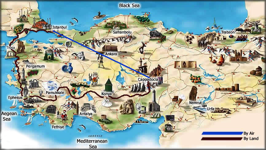 Turkey Map Tourist – Turkey Tourist Attractions Map